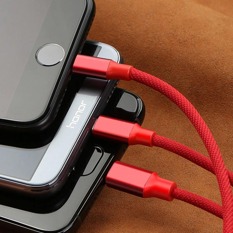 Braided Nylon 3-in-1 Multi USB Cable