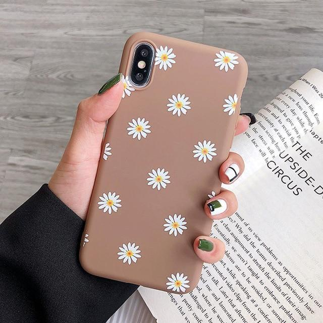 Flexible Silicone Daisies on Colored Background iPhone Case