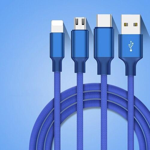 Braided Nylon 3-in-1 Multi USB Cable blue