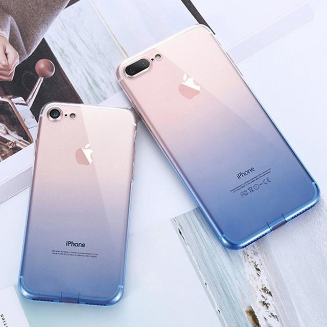 coque iphone transparente dégradé bleu marine