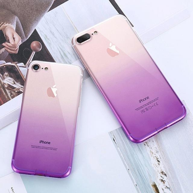 coque iphone transparente dégradé  violet
