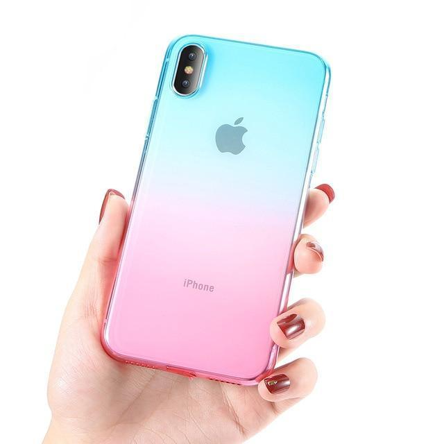 coque iphone transparente dégradé bleu rose