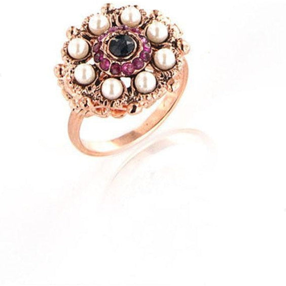 Flower Ring With Natural Stones Silver 925