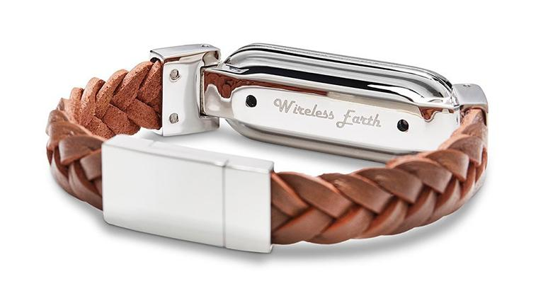 wireless_earth_bracelet_braided_leather_friar_brown_back_5g_technology