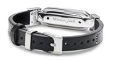wireless_earth_bracelet_leather_white stitching_black_back_5g_technology
