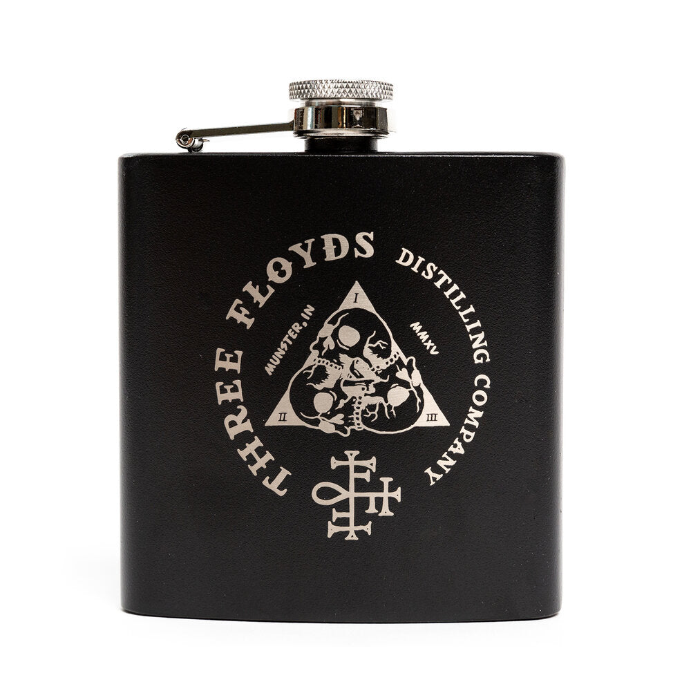 3 Floyds Distilling Black Logo Flask