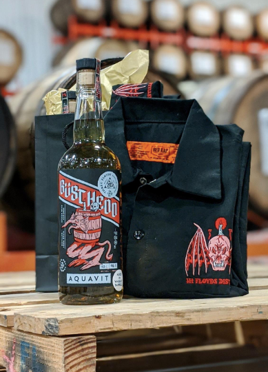 Barrel-Aged Büsthedd Aquavit / Workshirt Gift Pack - PICK-UP ONLY