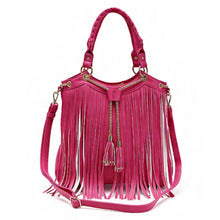 Load image into Gallery viewer, Concealed Carry Fringe w/Chain Tassels Accented Handbag With Strap (Fuschia) - SE Collegiate Gifts