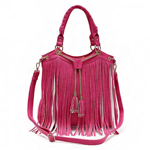 Concealed Carry Fringe w/Chain Tassels Accented Handbag With Strap (Fuschia) - SE Collegiate Gifts