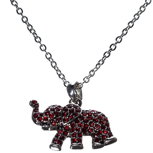 18 Inch Crimson Red Rhinestone Elephant Necklace - SE Collegiate Gifts