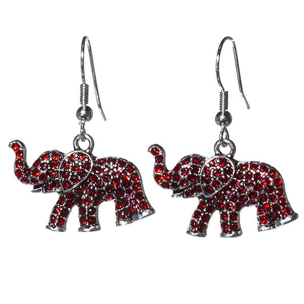 Red Rhinestone Elephant Earrings - SE Collegiate Gifts