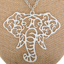 Load image into Gallery viewer, OO Elephant Head Filigree Pendant Long Necklace - SE Collegiate Gifts