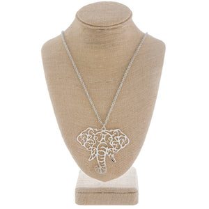 OO Elephant Head Filigree Pendant Long Necklace - SE Collegiate Gifts