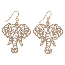 Load image into Gallery viewer, Alabama Filigree Elephant Head Fishhook Earrings, Choice of Crimson, Gold or Silver - SE Collegiate Gifts