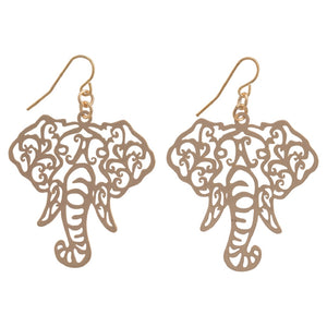 Its Sense Elephant Head Filigree Fish Hook Earrings, Gold or Silver - SE Collegiate Gifts