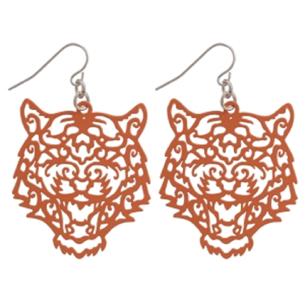 Orange Tiger Filigree Dangle Earrings - SE Collegiate Gifts