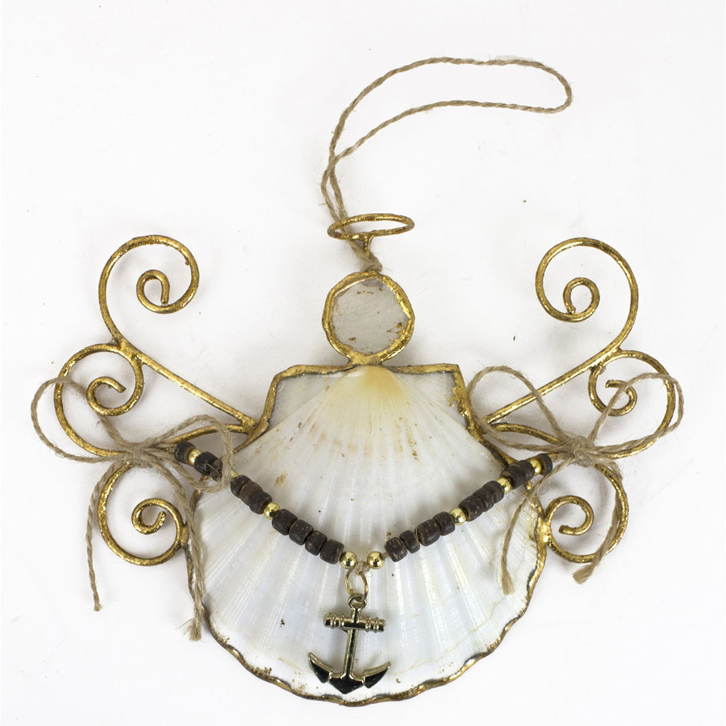 Angel Seashell Ornament, Choice of Anchor, Faith, Hope, or Ship - SE Collegiate Gifts