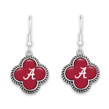 Load image into Gallery viewer, NCAA Quatrefoil Rope Trimmed Dangle Earrings - SE Collegiate Gifts