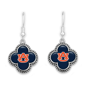 NCAA Quatrefoil Rope Trimmed Dangle Earrings - SE Collegiate Gifts
