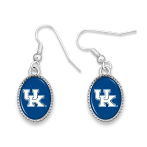 NCAA Drop Oval Logo Earrings Beaded Trim - SE Collegiate Gifts