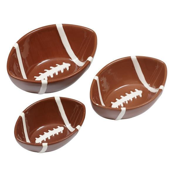 Football Ceramic Nesting Snack Bowls Set of 3 - SE Collegiate Gifts