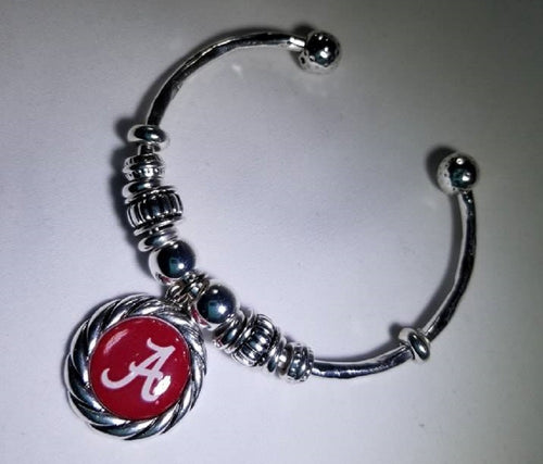 Alabama Bobbie Beaded Silver Dome Cuff Bracelet - SE Collegiate Gifts