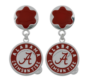 Alabama Flower burst Earrings with Drop Armor Charm - SE Collegiate Gifts