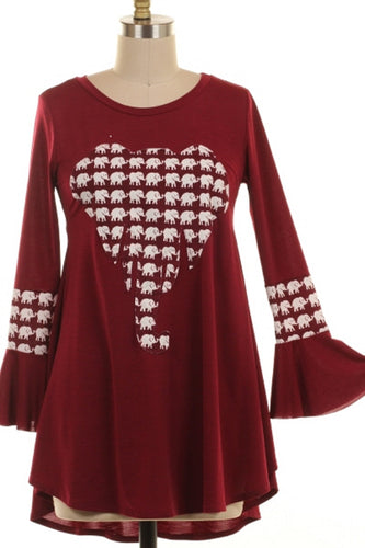 Elephants All in a Row Patch Plus Size Tunic Top 1XL, 2XL, 3XL - SE Collegiate Gifts