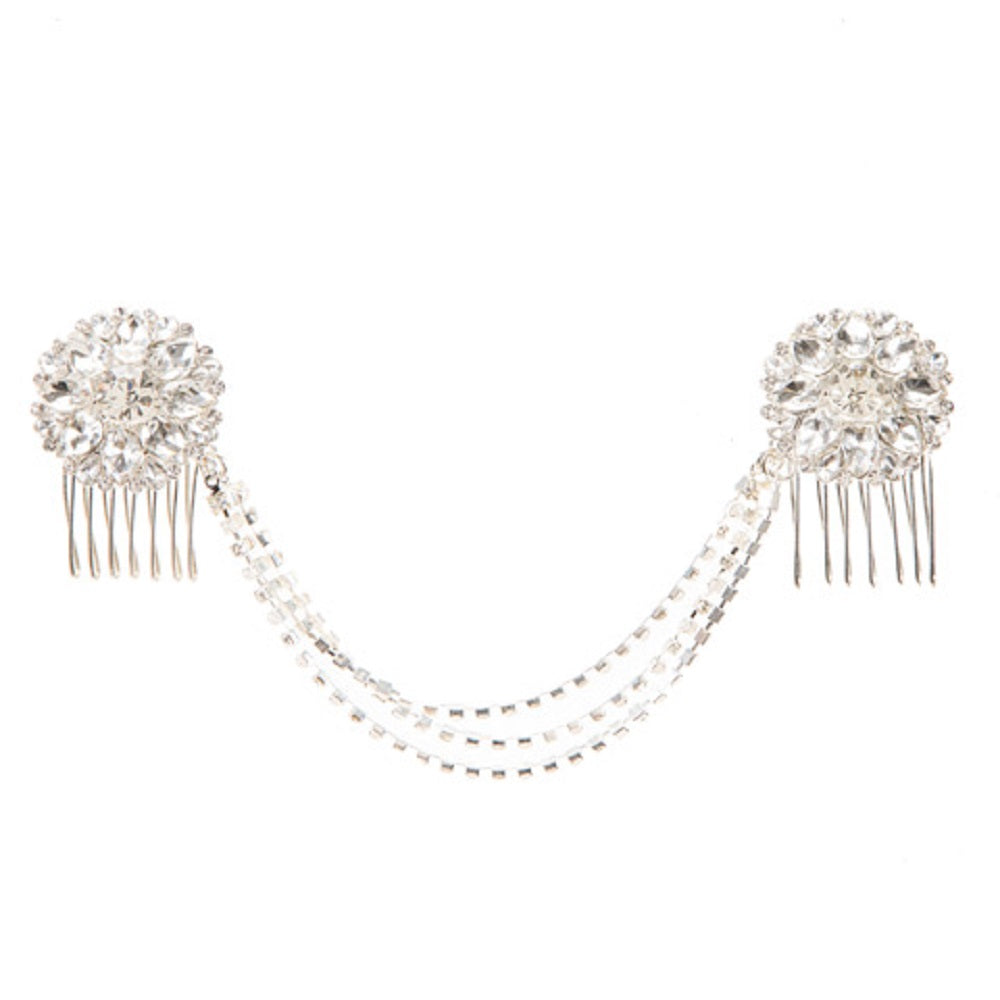 Silver Hair Comb: Rhinestones/Pearls - SE Collegiate Gifts