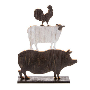 Stacked Farm Animal Decoration: Rooster/Sheep/Pig, Wood