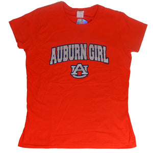 Auburn Girl and AU logo Glitter Plus Size T-Shirt - SE Collegiate Gifts