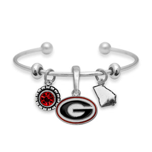 Triple Charms Georgia Bulldogs Logo, Metal State, and Team Color Bracelet