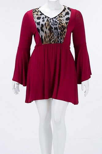Burgundy Dress Top With Front & Back Leopard Bodice Insets - SE Collegiate Gifts
