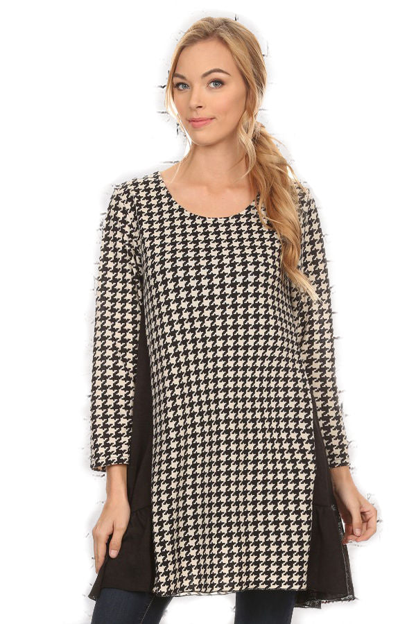 Houndstooth and Black Accent Medium Tunic, made by Paisley Vine - SE Collegiate Gifts