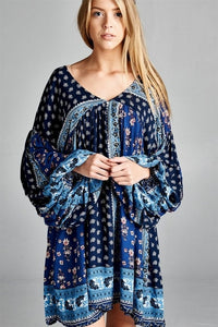 Baby doll multi-color boho block print long plus size tunic/dress, 1X or 3X - SE Collegiate Gifts