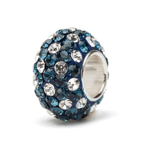 Navy Blue and White (Clear) Crystal Spotted Charm Bead - SE Collegiate Gifts