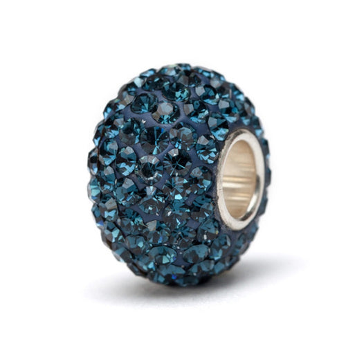 Navy Blue Crystal Charm Bead - SE Collegiate Gifts