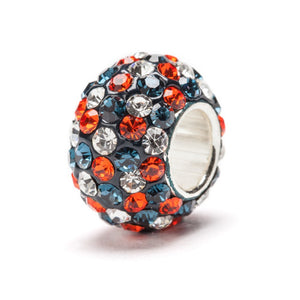 Navy Blue,Orange, and White (Clear) Spotted Crystal Charm Bead - SE Collegiate Gifts