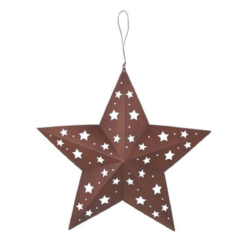Tin Star with Star Cutouts, 8 inches
