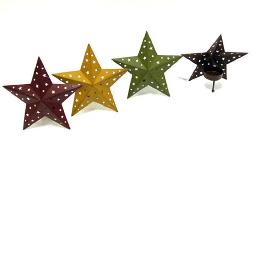 Tealight Holder, Tin Star with Mini Star Holes, 5.75