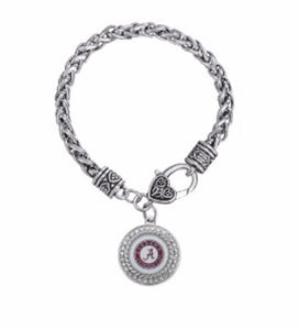 Georgia Bulldog Logo in Charm Pave Setting, Woven Chain Bracelet - SE Collegiate Gifts