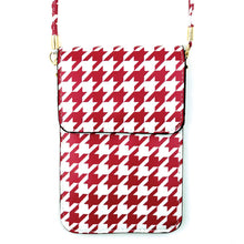 Load image into Gallery viewer, Dark Red Houndstooth Crossbody Phone Wallet