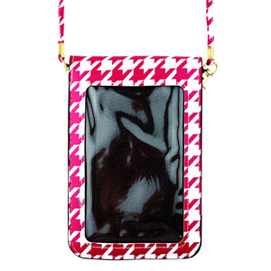 Dark Red Houndstooth Crossbody Phone Wallet