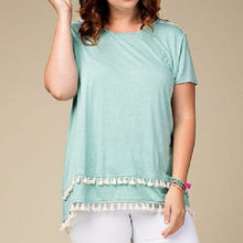 Load image into Gallery viewer, Plus Size Jade Top, Fringed Hem, Short Sleeves - SE Collegiate Gifts