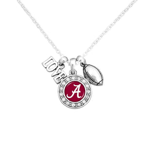 "NCAA Love, Football, and Logo Charms 16"" Necklace, Alabama, Florida, or Tennessee - SE Collegiate Gifts"