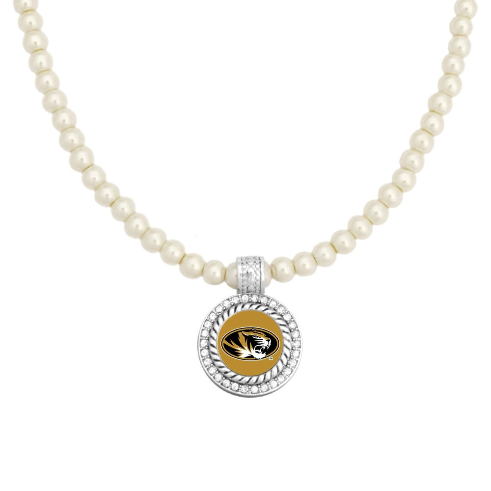 University of Missouri Pearl Necklace with Rhinestone Pendant
