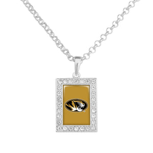 RHINESTONE RECTANGLE MISSOURI LOGO NECKLACE - SE Collegiate Gifts
