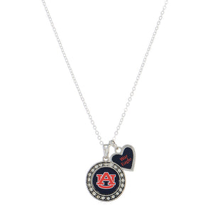 Auburn Necklace, Logo Pendant and War Eagle Spirit Heart Charm - SE Collegiate Gifts