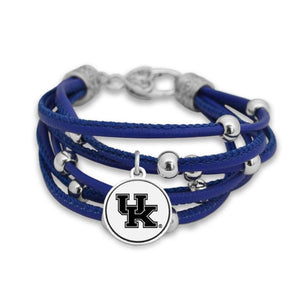 NCAA Multi Strand Randomly Beaded Logo Charm Bracelet  Multiple Teams - SE Collegiate Gifts