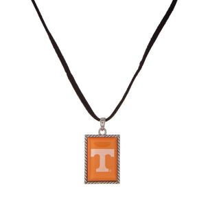 NCAA Square Logo Pendant Necklace on Black Cord - SE Collegiate Gifts